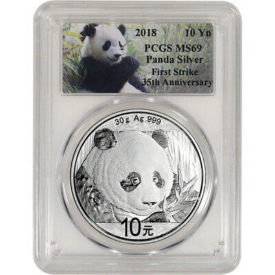 2018 China Silver Panda (30 g) 10 Yuan - PCGS MS69 First Strike Panda Label