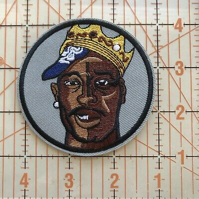 "Tupac Face Crown Embroidered Iron on Hip Hop patch 3"" x 3"". Thug Life. Rap. 2Pac"