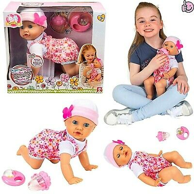 Interactive Realistic Baby Girl Doll Lifelike Toy Crawling Giggling Wiggling NEW