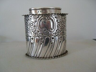 Antique Edward Vii Embossed Sterling Silver Tea Caddy Canister / Box 1905 London