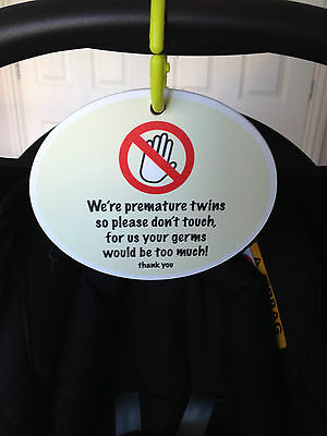 Premature Baby Twin Signs ;Do not touch, Gift,Present,Preemie NICU,Neonatal,SCBU