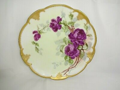 Antique AK  French Limoges Plate Hand Painted Tea Roses Artist Signed