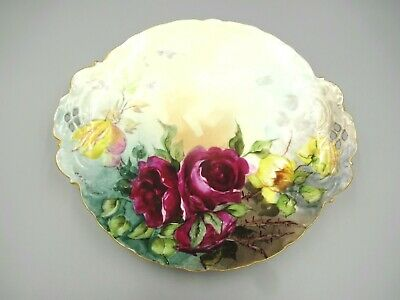 Rosenthal German Plate Hand Painted Crimson Tea Roses Artist Signed