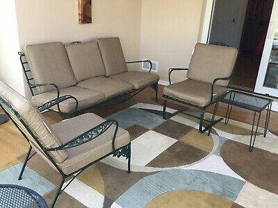 Vintage Mid Century Wrought Iron Outdoor Patio Refinished 4 Piece Furniture Set