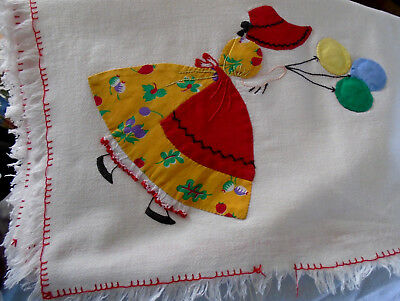 "VINTAGE Victorian SUNBONNET GIRL APPLIQUE COTTON TABLECLOTH 34"" Sq. Not Pristine"