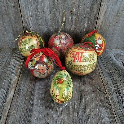 Vintage Paper Mache Ball Ornament Santa Merry Christmas Decoupage Lot Set Egg