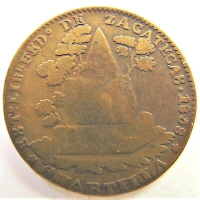 1858  MEXICO, First Republic, 1/4 Real grading About FINE.