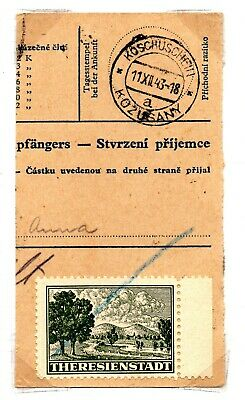Bohemia & Moravia Theresienstadt concentration camp on parcal card SOLD 'AS IS'