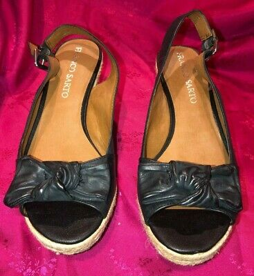 Heels Franco Sarto Humour Black Sling Back Open Toe Pumps Size 10m F6467 De/ Clothing, Shoes & Accessories