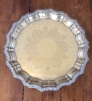 Antique Vintage F.a.g.h. Silver Plate Chased Serving Tray,ball Claw Feet,ornate