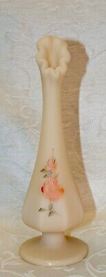 "Fenton, Bud Vase, Cameo Glass, ""Peach Roses on Cameo"", Hand Decorated."