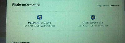 Spain Malaga from  Manchester travel  flight  two 2 X tickets  Easter Holidays