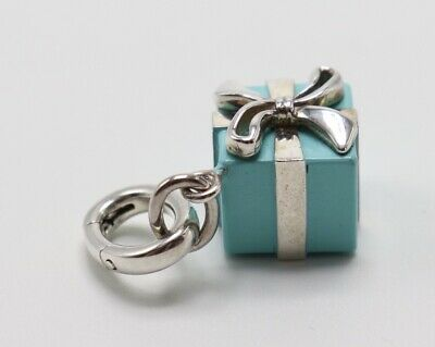 Tiffany & Co. SIGNED Sterling Silver Blue Enamel Wrapped Gift Box Charm Enhancer
