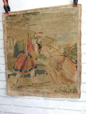 really OLD wool work antique hand craft dated 1867