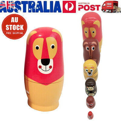 6 Layers Fox Animals Russian Nesting Doll  Schima Painted Toys Gift Set AU Stock