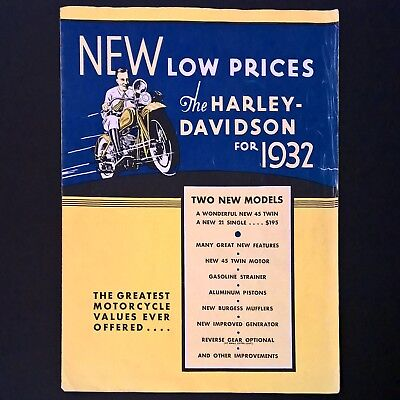 Harley Davidson Motorcycle 1932 Original Vintage Quad-Color 4 Pg Sales Brochure