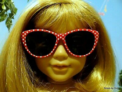 """RED & WHITE Polka Dot DOLL SUNGLASSES fits 18"""" AMERICAN GIRL Doll Clothes"""