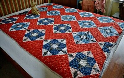Antique Hand Stitched Mosaic Quilt Early Calicoes Homespun Textile