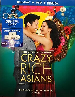 Crazy Rich Asians Blu-Ray/DVD/Digital With Slipcover Brand New