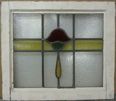 "OLD ENGLISH LEADED STAINED GLASS WINDOW Nice Abstract Band & Drop 21"" x 18.25"""