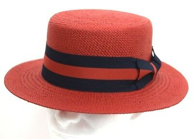eace5f49b7979 Mens Dress Casual Boater Hat Skimmer Sailor Barbershop Straw Red S