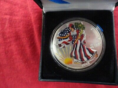 2002 AMERICAN EAGLE .999 SILVER DOLLAR IN FULL COLOR 1 Oz. Uncirculated