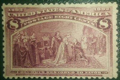 Travelstamps:1893 US Stamps Scott # 236 Restored to Favor 8 cents mint ng unused