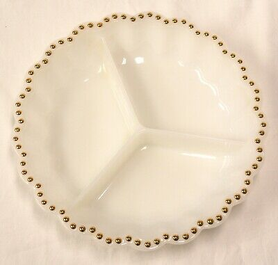 Vintage White Milk Glass Gold Trim Hobnail Three Section Appetizer Tray