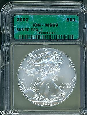 2002 American Silver Eagle ASE S$1 ICG MS69 MS-69 BEAUTIFUL !!
