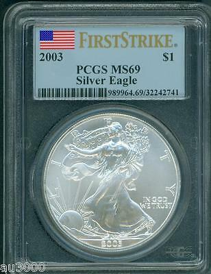 2003  American Silver Eagle ASE S$1 PCGS graded MS69 MS-69 FIRST STRIKE FS !!!