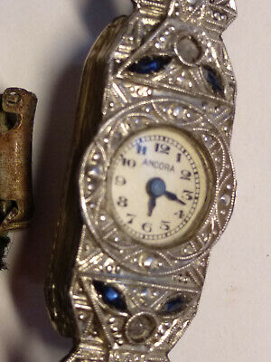 Antique Lady's wristwatch ANCORA Swiss Deco Sapphires little Diamonds 18K gold
