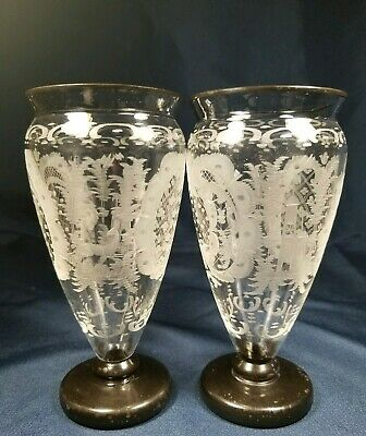 Rare Antique Egermann Bohemian Pair Clear Etched Vases Deer Castle Bird