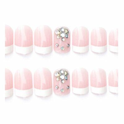 24 pcs False Nails Patch French Short Style Manicure Patches Nail Decor Aヤ
