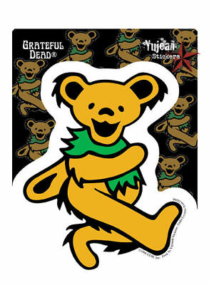 "ORANGE Grateful Dead DANCING BEAR 3"" x 3"" window / bumper sticker AD361O"