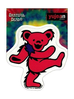"(#137) RED Grateful Dead DANCING BEAR 3"" x 3"" window / bumper sticker (361R)"