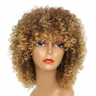 Light Brown Female Noble Hair Short Synthetic Wigs Kinky Curly Synthetic  H∨