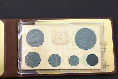 1975 SINGAPORE - Official Mint Set (6) - Year Of Rabbit - Orig. Cards In Wallet.