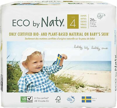 Eco by Naty Premium Disposable Diapers For Sensitive Skin, Size 4, 7 to 18 kg...