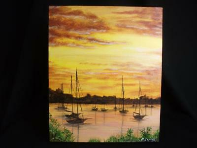 Unframed Original Acrylic Painting, 30 x 25cm Picture 'Broads Sunset' Phil Lynes