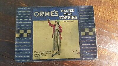 Rare Antique ORME'S MALTED MILK TOFFIES Toffee Chocolate Confectionery Tin