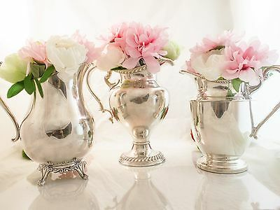Vintage Set Of 3 Silver Plate Pitchers Wedding Decor Centerpieces Buffet Event