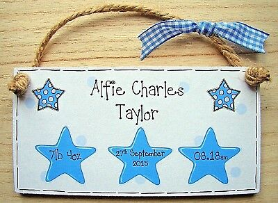 PERSONALISED NEW BABY BOY BIRTH hanging wood plaque custom made keepsake sign