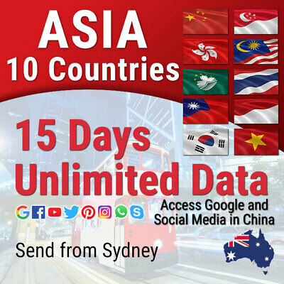 Asia 10 Destinations | 15 days | Unlimited Travel Data Sim Card