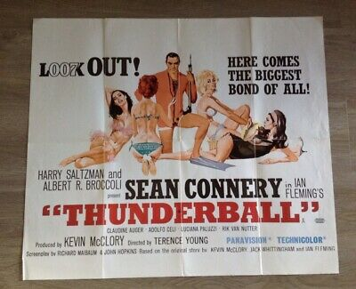 THUNDERBALL - JAMES BOND 007 MOVIE POSTER - Used Folded Film poster.