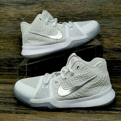 sale retailer 73520 8e462 NIKE KYRIE 3 Shoes (Youth Boy's Size 1.5Y) Basketball Sneaker Shoes White  Silver