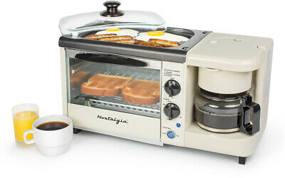Nostalgia 3-in-1 Bisque White Breakfast Station Toaster Oven 4-Cup Coffee Maker