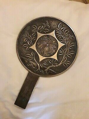 SUPERB Orig ANTIQUE Japanese Period LADIES Geisha BRONZE MIRROR