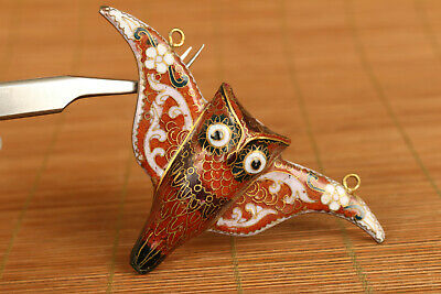 chinese old cloisonne hand painting owl statue figure netsuke pendant noble gift