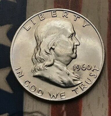 1960-D 50C Franklin Half Dollar 90% Silver Vintage US Coin #SD55 Very Sharp