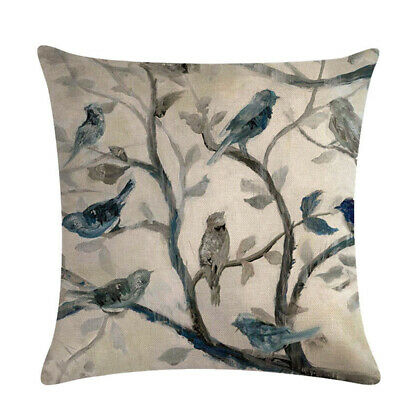 Pillow Covers Tree Leaf Bird Printed Office Cushion Cover Pillowcase Supply 6A